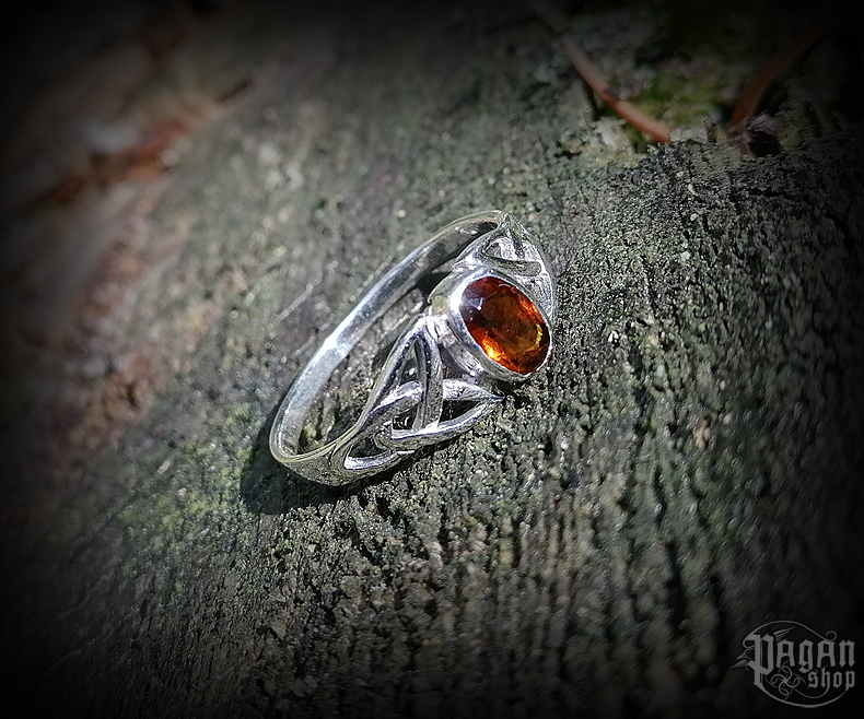 Ring Mythia with orange/red crystal - 925 sterling silver