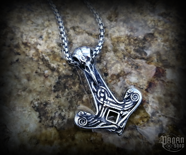 Pendant Thor's hammer Krummi with chain - 316L