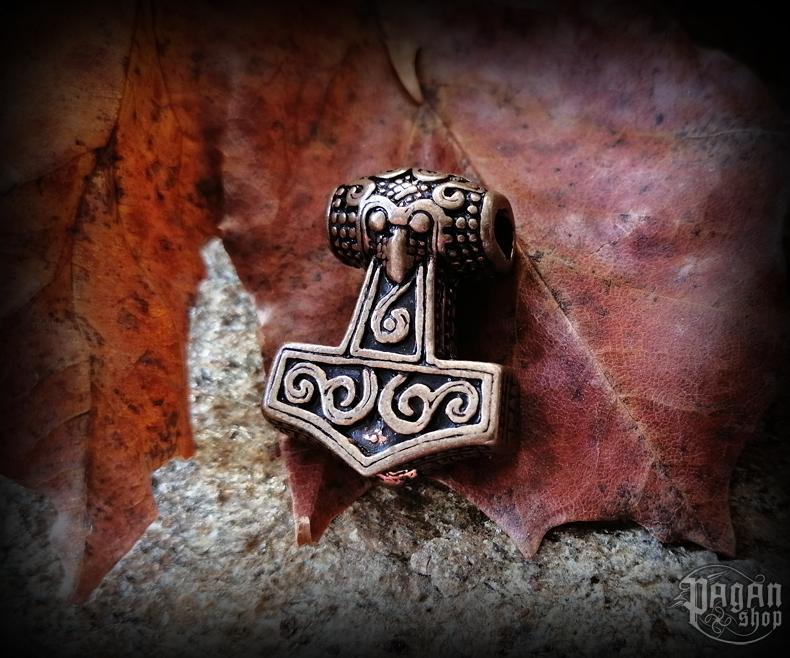 Beard bead Thor's hammer Tølír - bronze