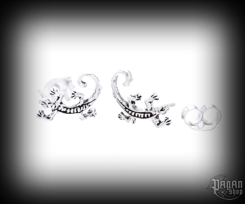Stud earrings Lizard Ebony - 925 sterling silver