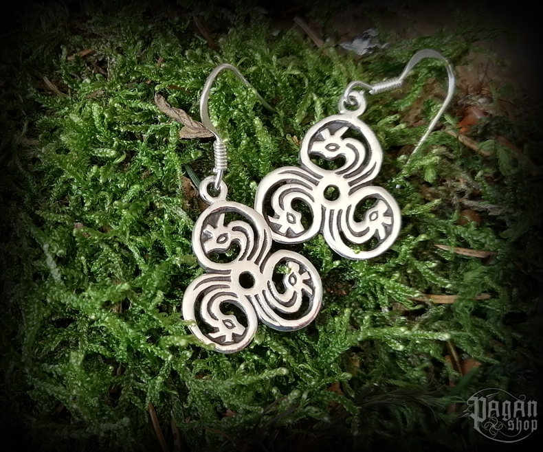 Hook earrings Triskel Dreki - 925 sterling silver