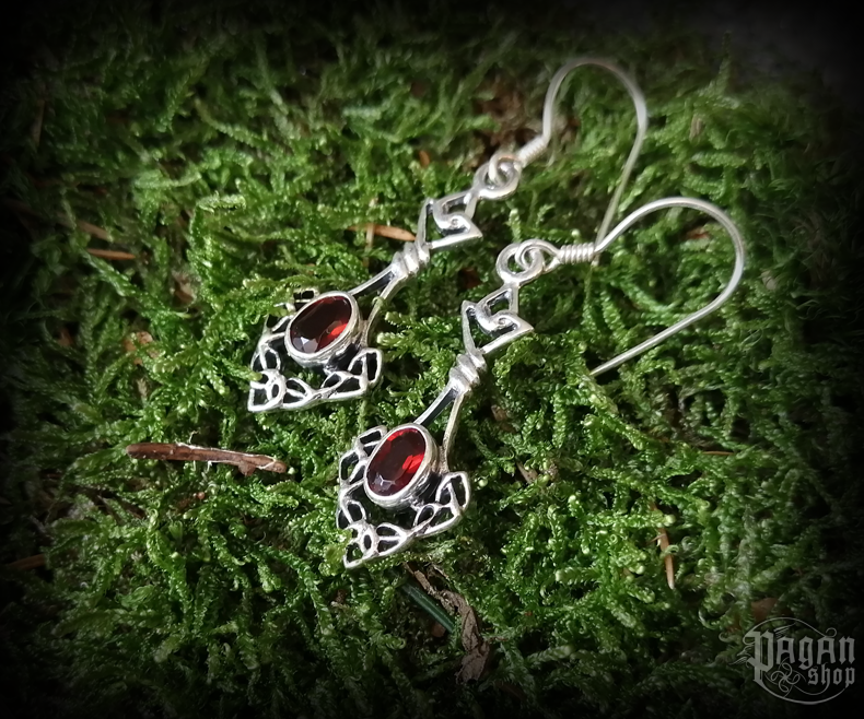 Hook earrings with crystal Celtic Danu - 925 sterling silver