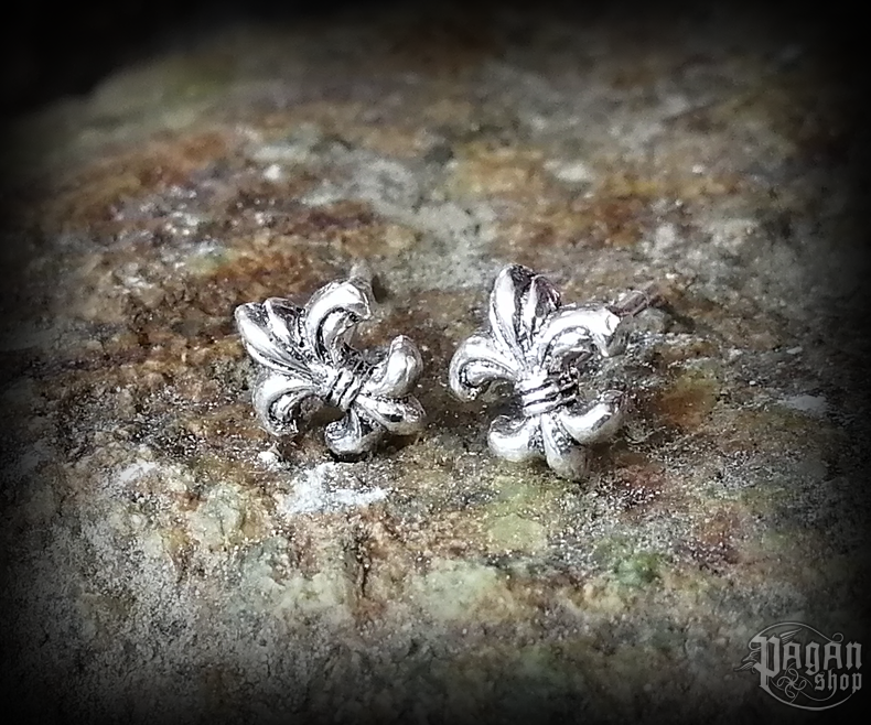 Stud earrings Lily Fleur de Lis - 925 sterling silver