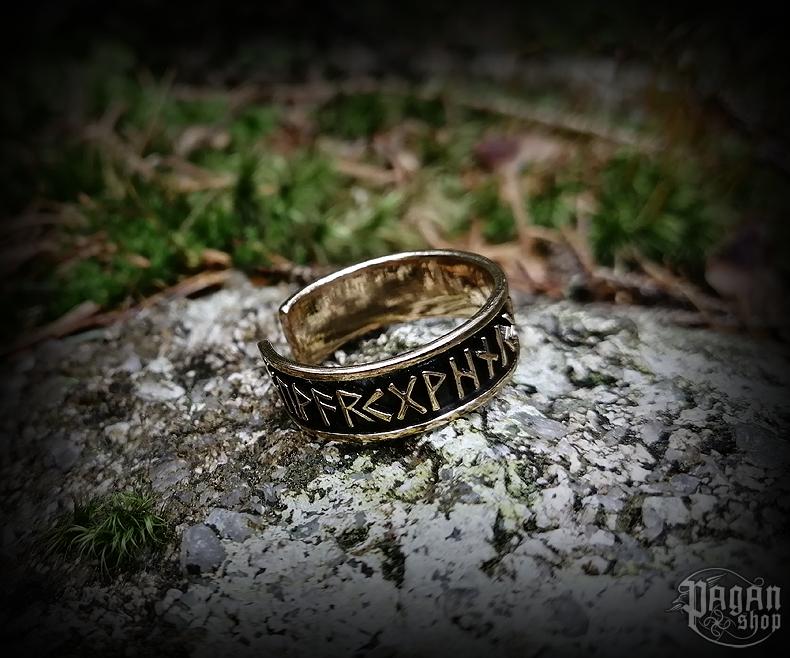 Ring Futhark Rúnar - bronze