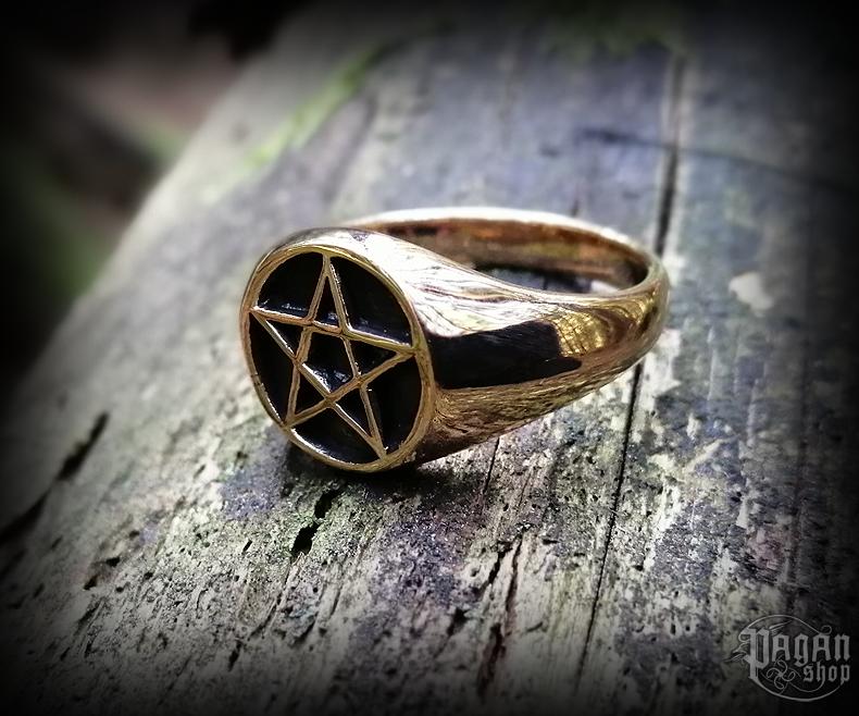 Ring Pentagram Pentar - bronze