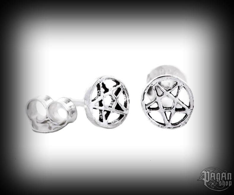 Stud earrings Pentagram Druidica - 925 sterling silver