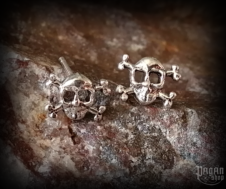 Stud earrings Skull Jolly - 925 sterling silver