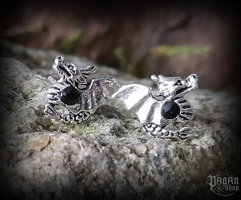 Stud earrings with onyx Dragon Urgid - 925 sterling silver