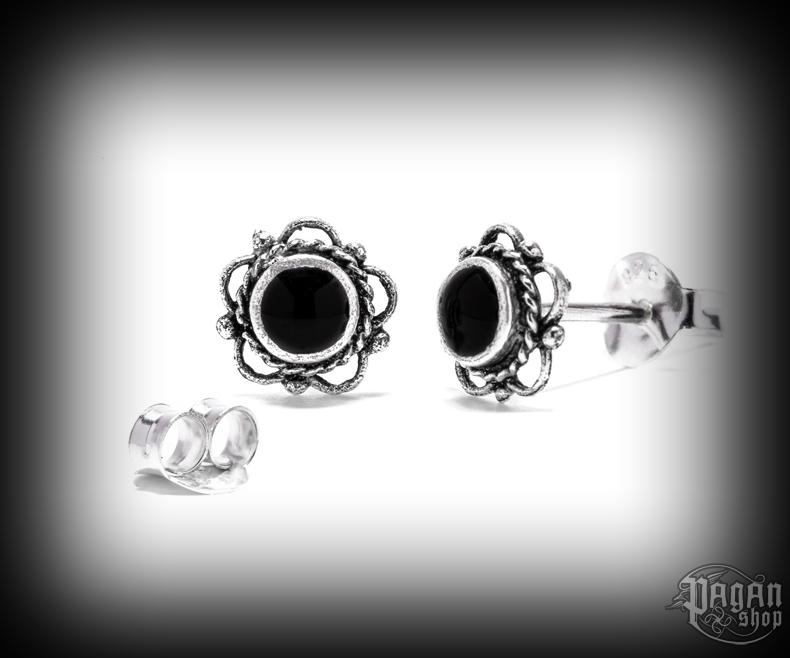 Stud earrings with onyx Siana - 925 sterling silver