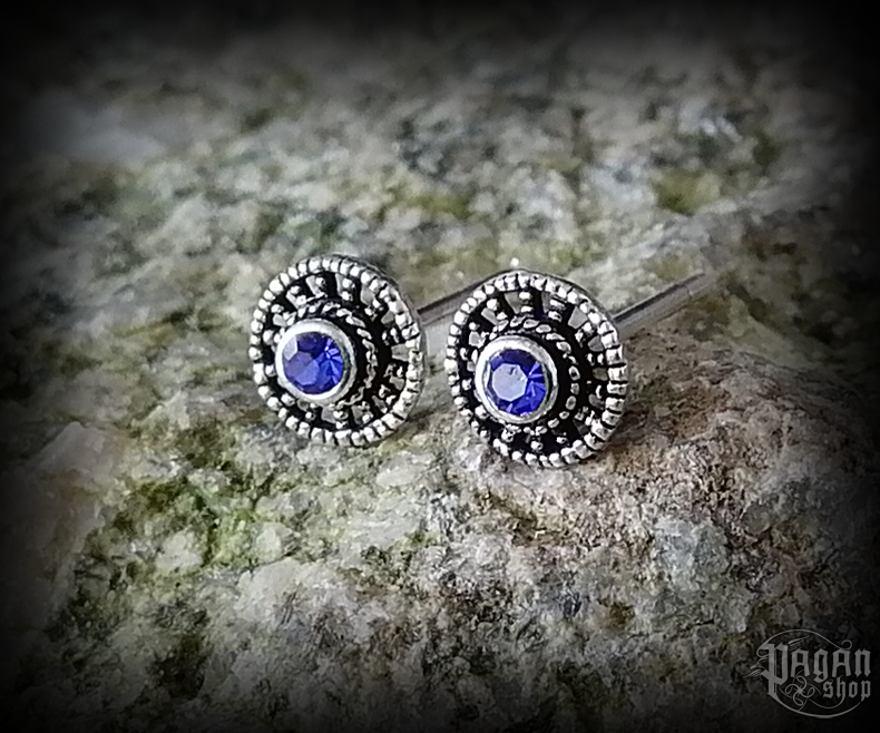Stud earrings with blue crystal Sun Raida - 925 sterling silver