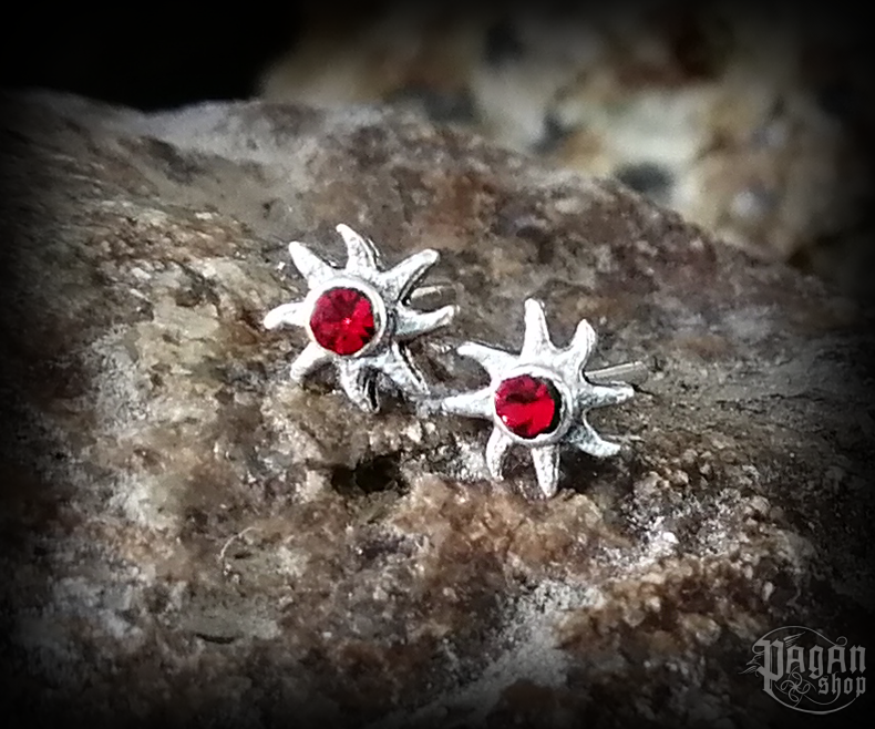 Stud earrings with red crystal Sun Lucia - 925 sterling silver