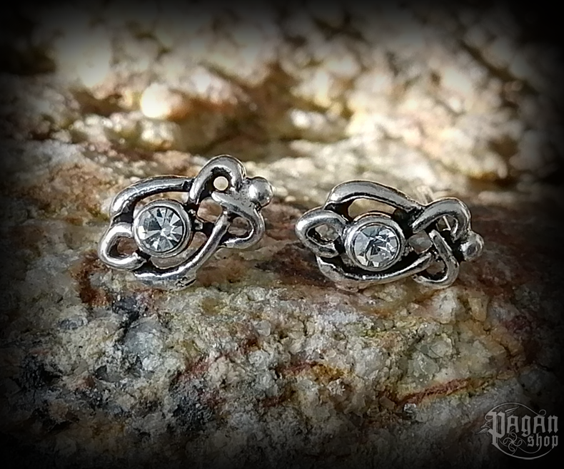 Stud earrings with white crystal Celtic Manja - 925 sterling silver