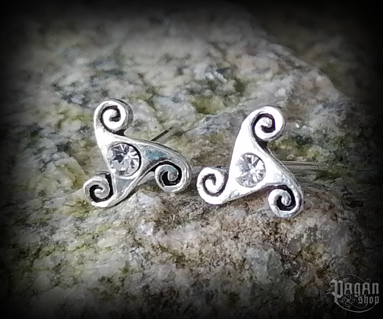 Stud earrings with white crystal Triskel Anwyn - 925 sterling silver