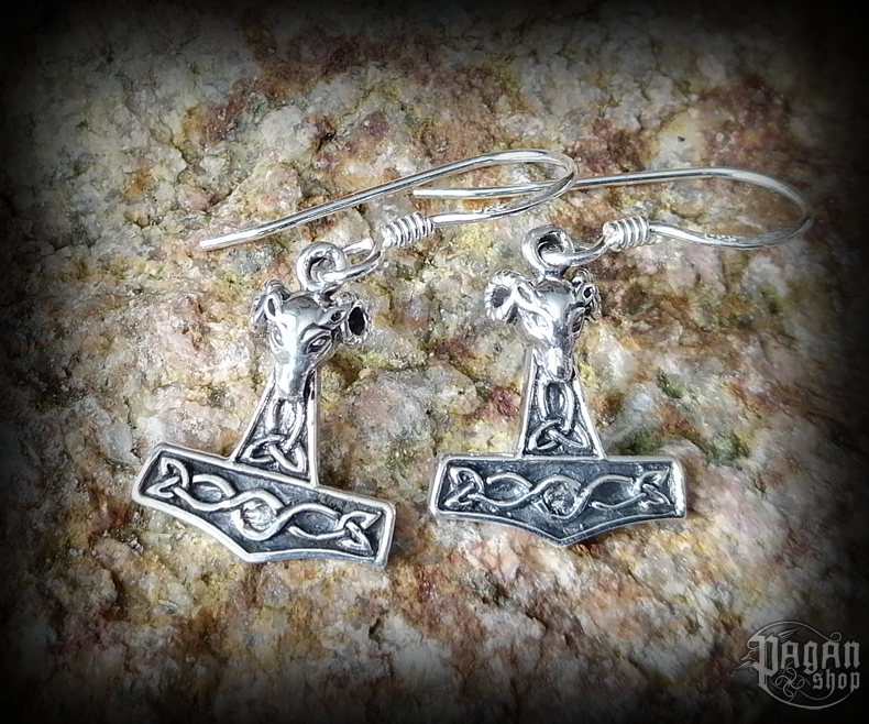 Hook earrings Thor's hammer Vaedderen - 925 sterling silver