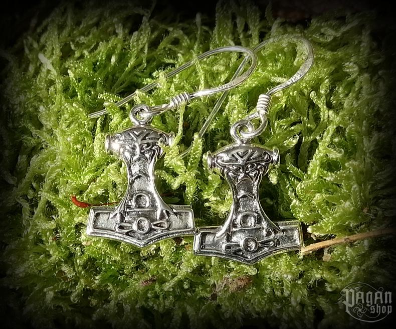 Hook earrings Thor's hammer Nordmann - 925 sterling silver
