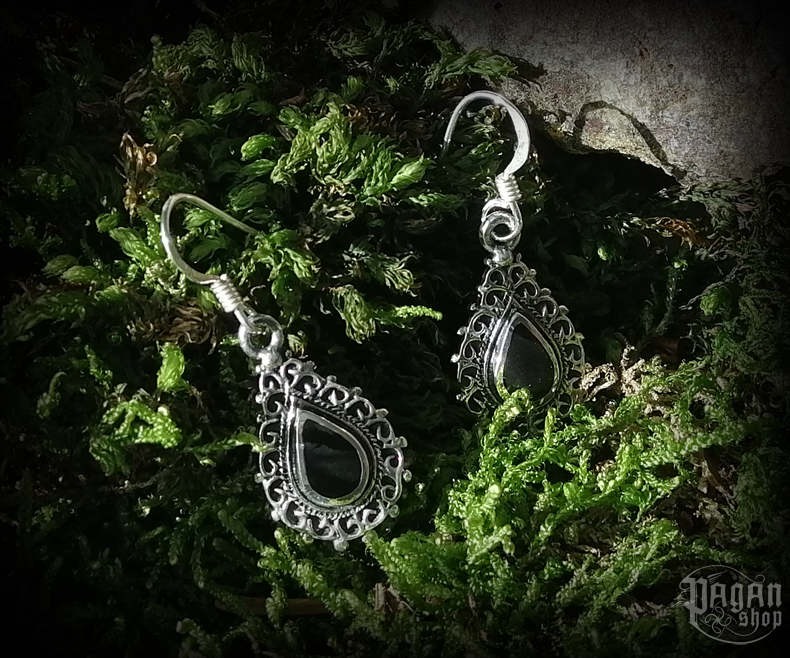 Hook earrings with onyx Muadhnait - 925 sterling silver