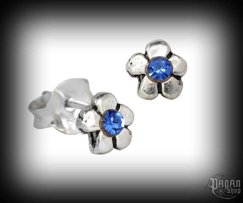 Stud earrings with blue crystal Flower Lania - 925 sterling silver