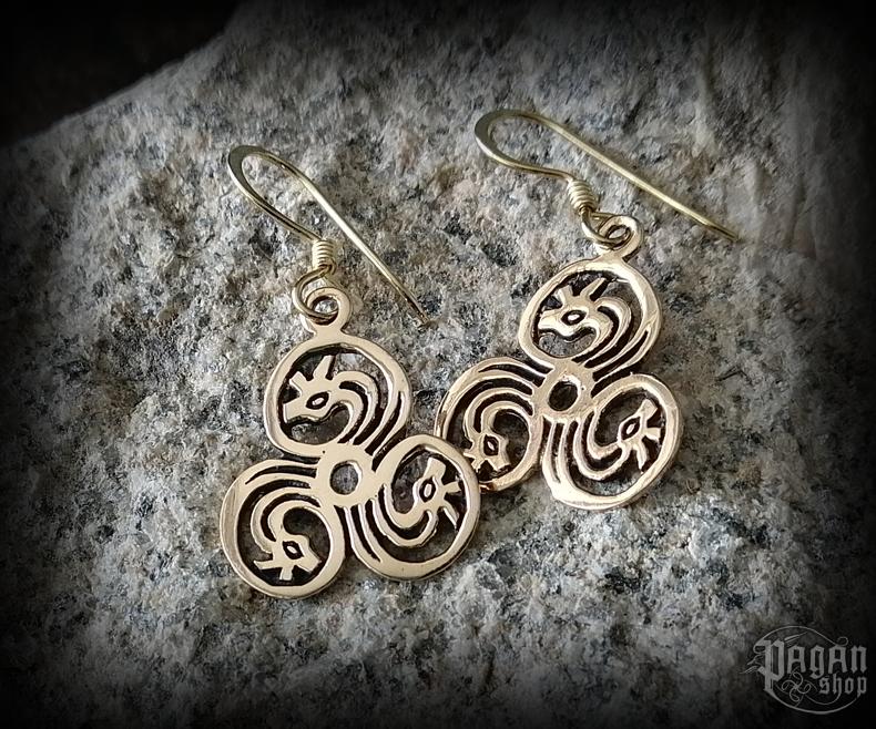 Hook earrings Triskel Tira - bronze
