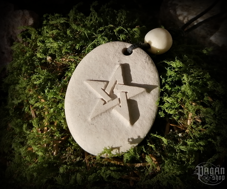 Pendant Pentagram - river stone
