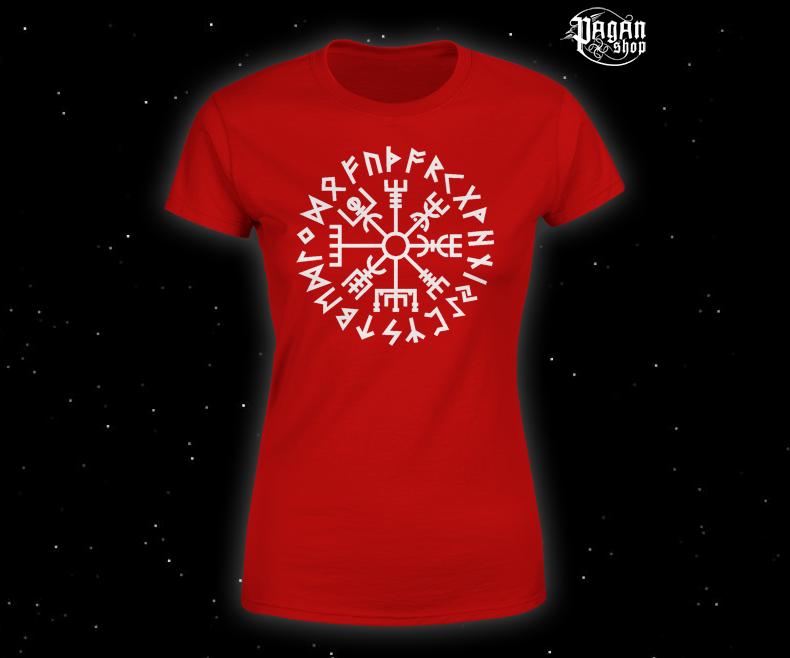 Women's T-shirt Vegvisir Futhark red