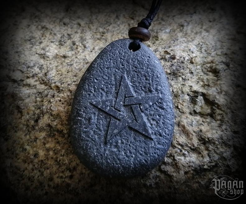 Pendant Pentagram - lava stone