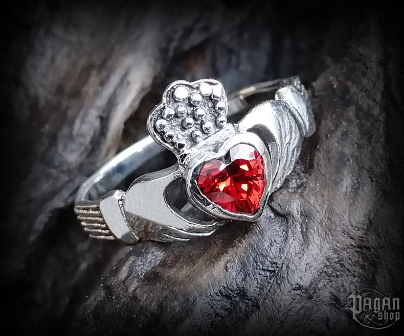 Ring with crystal Claddagh - 925 sterling silver