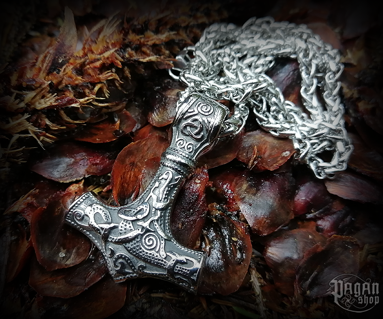 Pendant Thor's hammer Dettifoss with chain - 316L