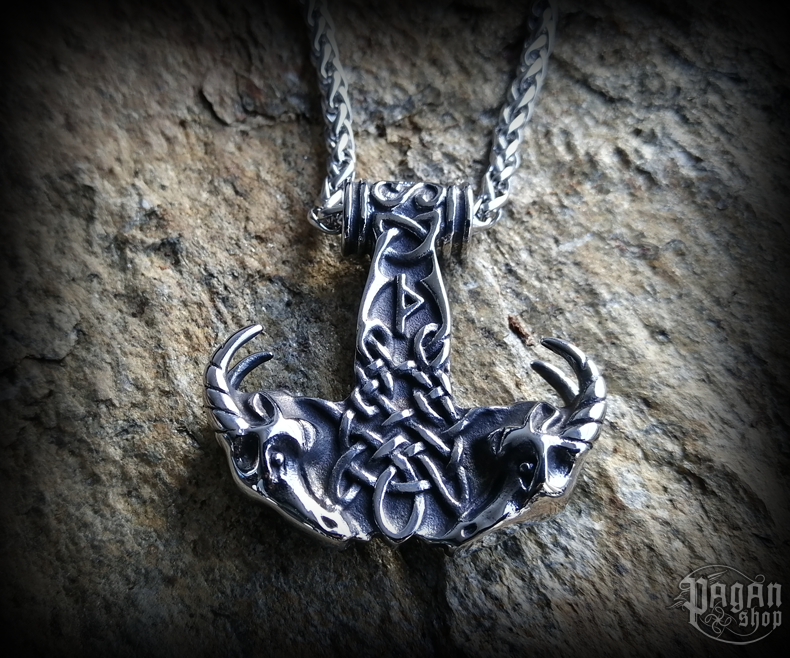 Pendant Thor's hammer Thurisaz with chain - 316L