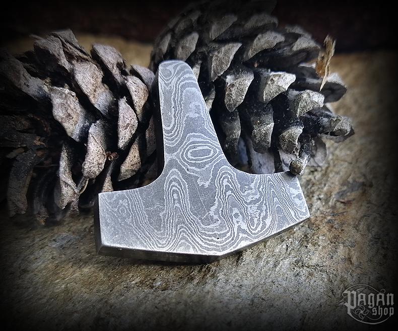 Pendant Thor's hammer - damascus steel