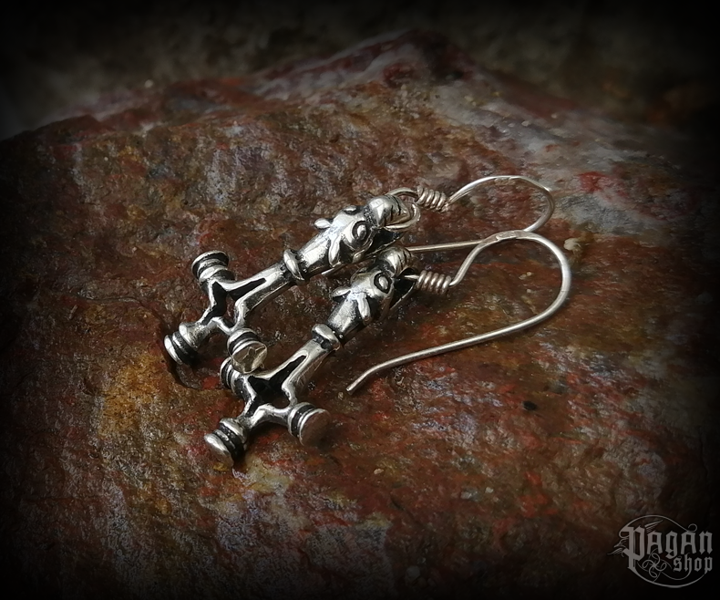 Hook earrings Thor's hammer Úlfur - 925 sterling silver