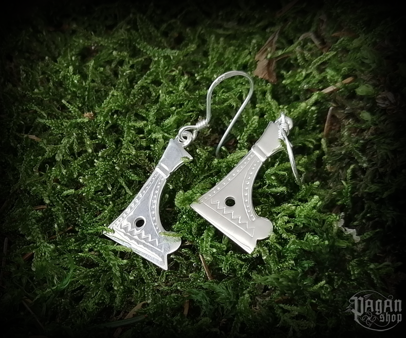 Hook earrings Perun's axe Grom - 925 sterling silver