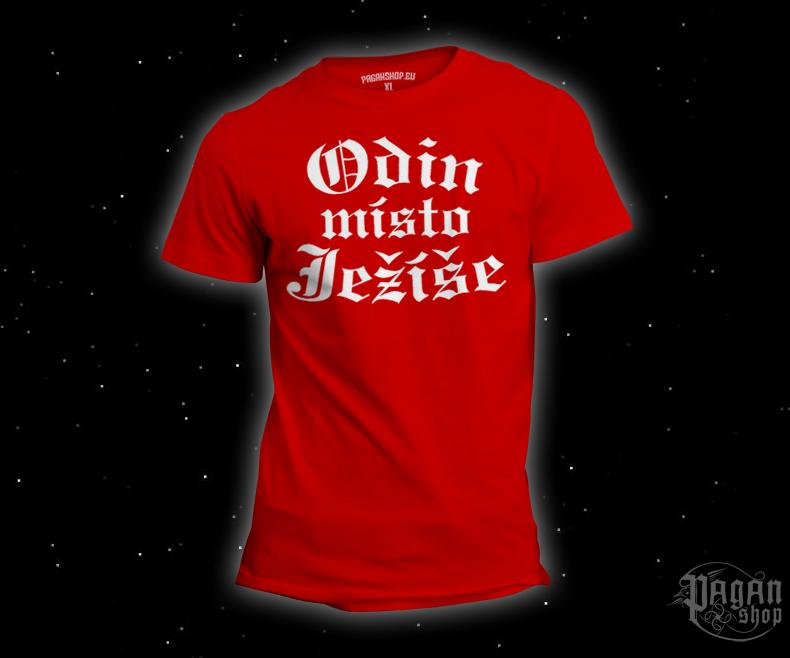 Triko Odin místo Ježíše červené