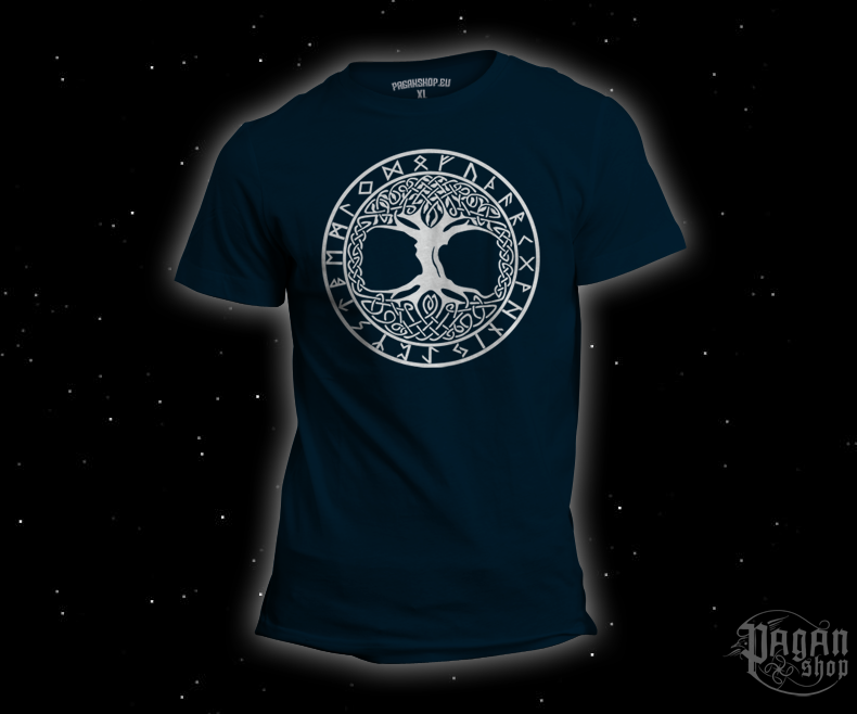 T-shirt Tree of life Futhark dark blue