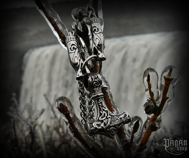 Pendant Thor's hammer Dettifoss with king chain - 316L