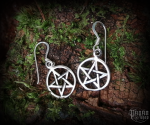 Hook earrings Pentagram Druidica - 925 sterling silver
