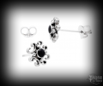 Stud earrings with onyx Nastia - 925 sterling silver