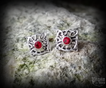 Stud earrings with crystal Celtic Doilidh - 925 sterling silver