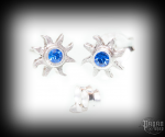 Stud earrings with blue crystal Sun Lucia - 925 sterling silver