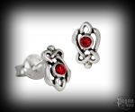 Stud earrings with red crystal Celtic Manja - 925 sterling silver
