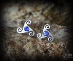 Stud earrings with blue crystal Triskel Anwyn - 925 sterling silver