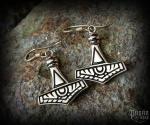 Hook earrings Thor's hammer Thorrod - bronze