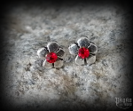 Stud earrings with red crystal Flower Lania - 925 sterling silver