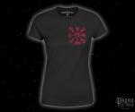 Dámské triko Vegvisir - červený potisk