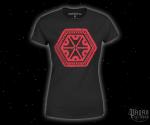 Dámské triko Znak hromu Perun - červený potisk