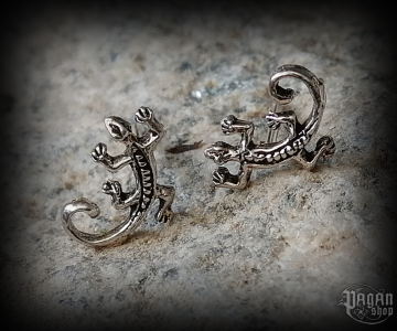 Stud earrings Lizard Ebony - 925 sterling silver