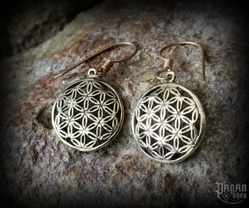 Hook earrings Flower Svarga - bronze