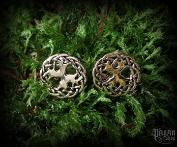 Stud earrings Tree of life Yggdrasil - bronze