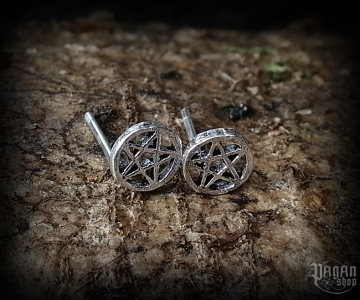 Stud earrings Pentagram Druidica - 925 sterling silver