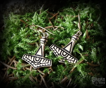 Hook earrings Thor's hammer Thorrod - bronze