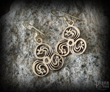 Hook earrings Triskel Tira - bronze